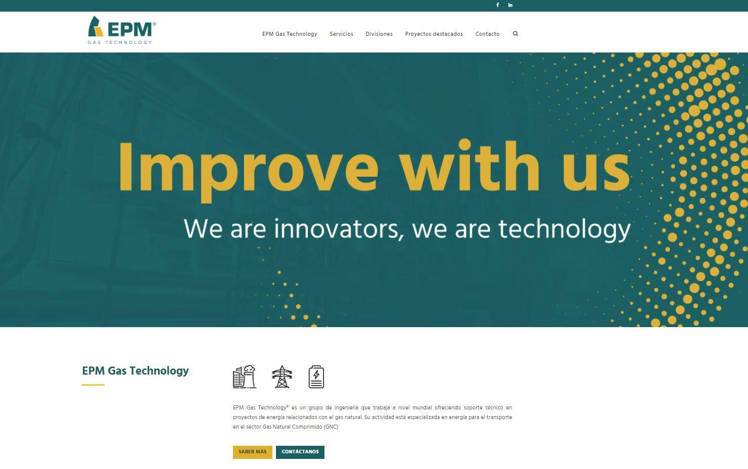 proyecto web, desarrollo digital para epm gas technology
